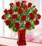 Happy Valentine's Day Blooming Love Red Roses in Red Vase