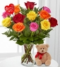 Hugs from the Heart Valentine's Day Rose Bouquet with Bear