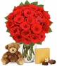 Two Dozen Red Roses with Chocolates & Bear