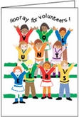 T345V - Cheering Kids Volunteer Thank You Card