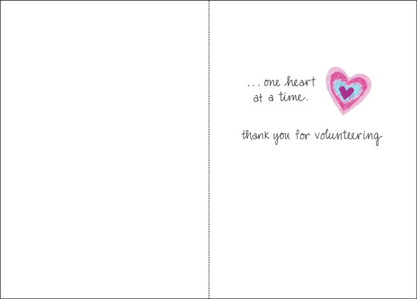 t5301v one heart volunteer thank you cards