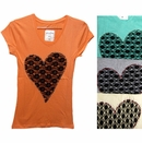 "Assorted Ladies Graphic Tees - ""Laced Heart"""