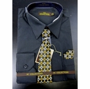 Men's L/S Dress Shirts W/ Tie & Handkerchief - Black