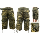 Wholesale Men's belted ripstop green camo shorts