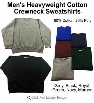 Wholesale Men's Heavyweight Baggy Fit Fleece Sweatshirts - $5.00/pc - M-TRO-1SWS - Click to enlarge