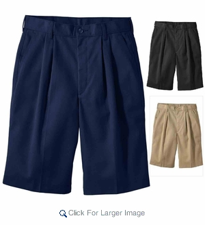 Wholesale Men's Uniform Work Shorts Pleated Front - $4.50/pc - Click to enlarge