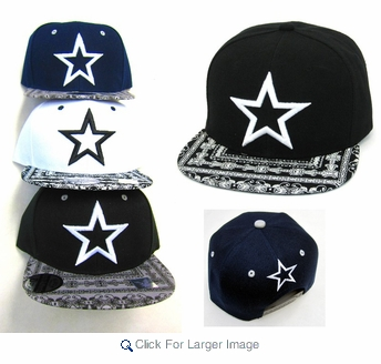 Wholesale Snapback Hats - Embroidered Star - Click to enlarge