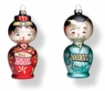 "Reproduction ""Distressed"" Kokeshi Ornaments"