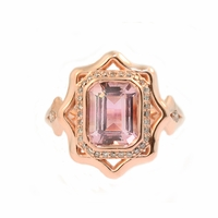 Natural Pink Tourmaline and Champagne Diamond Ring