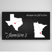 Because We Fell In Love Personalized State Canvas