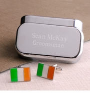 Dashing Irish Flag Cufflinks with Peronalized Case