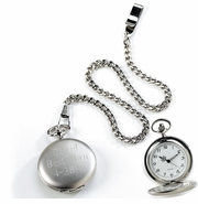 Engraved Silver Brushed Pocket Watch
