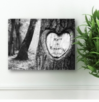 Everlasting Love Tree Carving Canvas Print