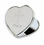 Personalized Compact Mirror with Engraved Cross