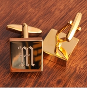 Personalized  High Polish Brass Cufflinks - Addison