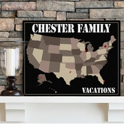 Personalized Americana Family Travel Maps