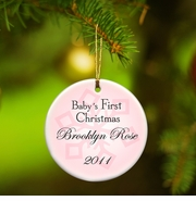 Personalized Ornament - Baby Girl's First Christmas