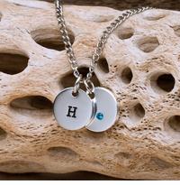 Hand Stamped Personalized Charm Necklace with Swarovski Birthstone Crystal