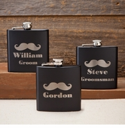 Personalized Black Matte Mustache Flask