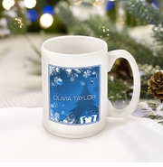Personalized Blue Holiday Surprises Coffee Mug