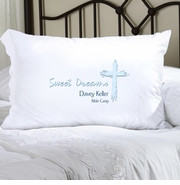 Personalized Pillow Case - Blue Message of Faith