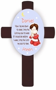 Personalized Boy's Bedtime Prayer Cross - Brunette