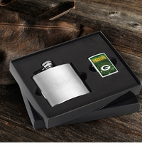 Personalized Flask and NFL Zippo Gift Set