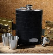 Personalized Leather Flask Set � Executive
