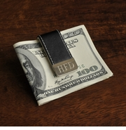 Personalized Leather Money clip with Stainless Plate