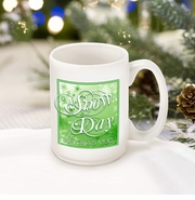 Personalized Green Snow Day Coffee Mug