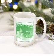 Personalized Green Snowscapes Coffee Mug