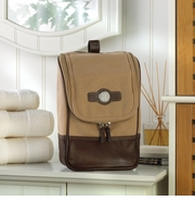 Personalized Leather and Canvas Dopp Toiletry Bag