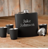 Personalized Matte Black Flask & Shot Glass Gift Box Set