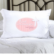 Personalized Pillow Case -  Pink Light of God First Communion