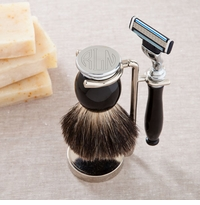 Personalized Shaving Set - Badger Hair Brush and Razor Set