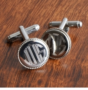 Personalized Cufflinks - Silver Round Beaded