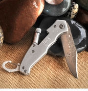 Personalized Steel Lock-back Pocket Knife with Flashlight