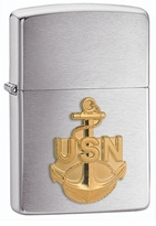 Personalized Zippo Navy Logo Lighter