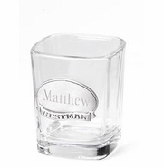 Shot Glass with Engraved Pewter Emblem
