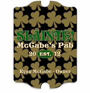 Vintage Personalized Field of Clover Pub and Bar Sign