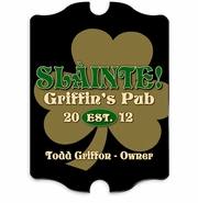Vintage Personalized Gold Clover Bar and Pub Sign