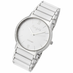 Luxe Series White Ceramic Steel Watch by Rougois