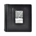 Italian Leather Window Album 10x10 Black with 50 Black Pages