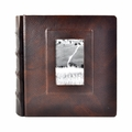 Italian Leather Window Album 10x10 Brown with 50 White Pages