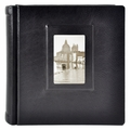 Italian Leather Window Album 12x12 Black with 30 Black Pages