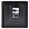 Italian Leather Window Album 12x12 Black with 50 Black Pages