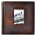 Italian Leather Window Album 12X12 Brown with 50 White Pages
