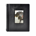 Italian Leather Window Album 8x10 Black with 30 White Pages