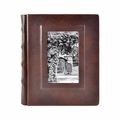 Italian Leather Window Album 8x10 Brown with 30 White Pages