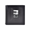Italian Leather Window Album 8x8 Black with 30 Black Pages